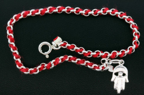 Kabalah red string bracelet in 925 sterling silver with a hand charm