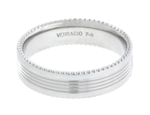 Verragio MV-6N06 Men's wedding band in 14k white gold.