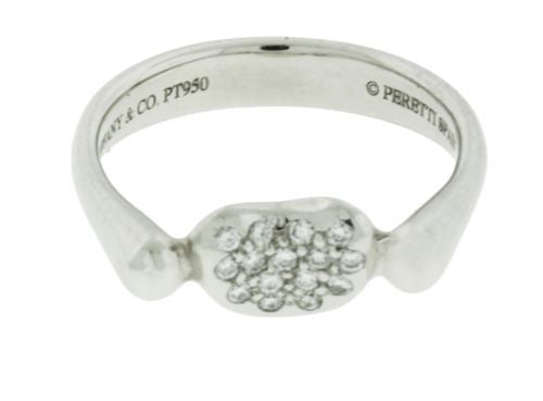 Tiffany & Co diamond Elsa Peretti Bean ring in platinum size 5
