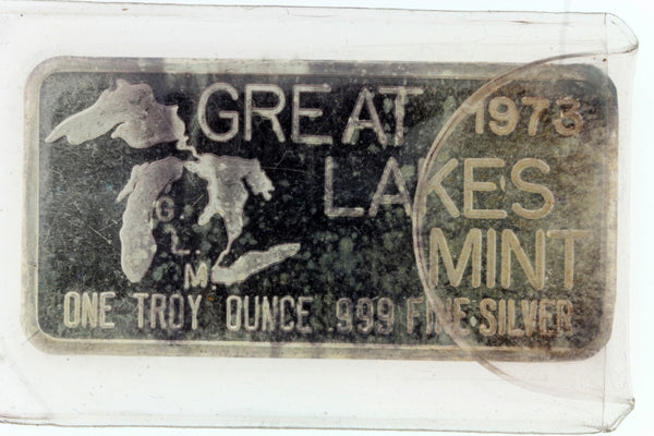 GREAT LAKES MINT 1973 1 TROY OZ SILVER BAR HAPPY BIRTHDAY .999 PURE
