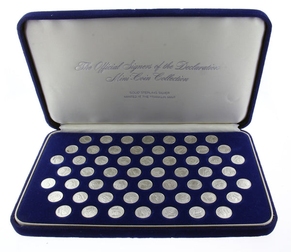 Franklin Mint official signers of declaration mini coin collection in sterling