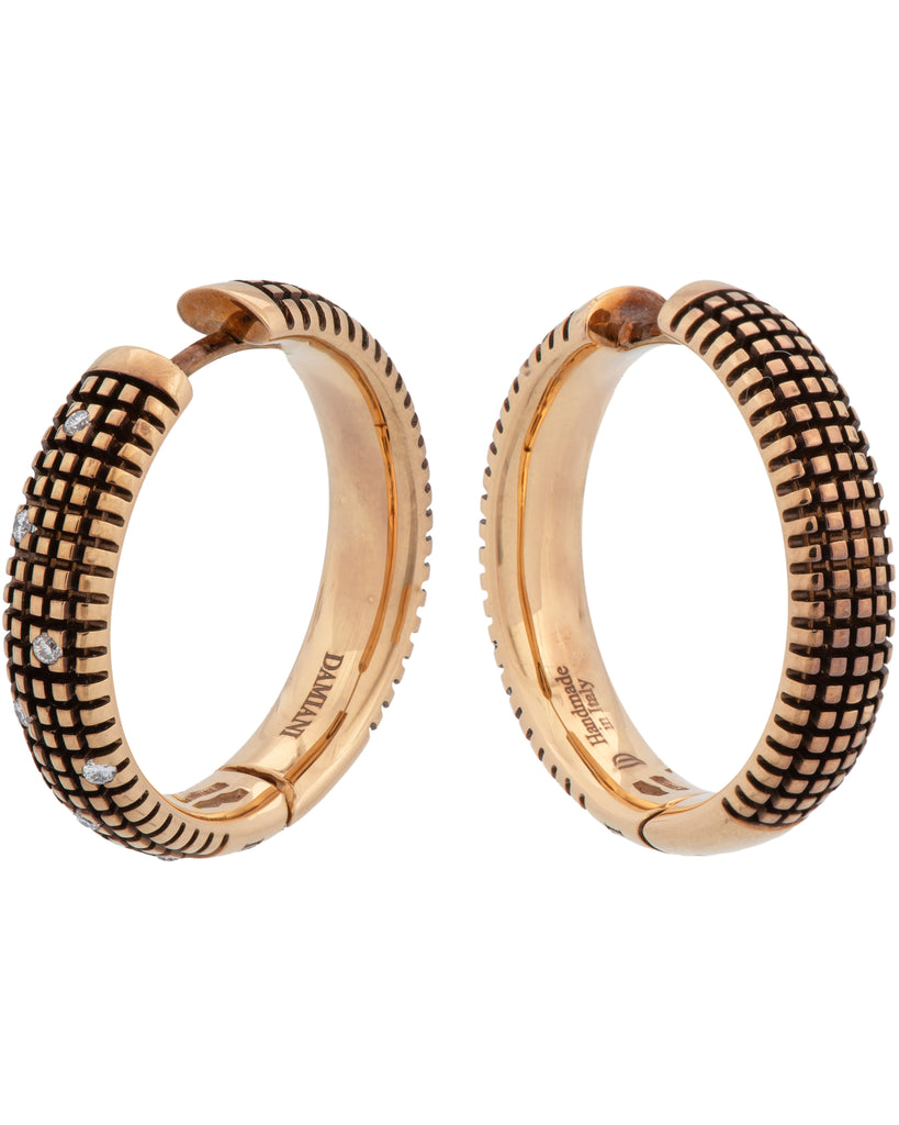 Damiani Metropolitan 18k rose gold hoop diamond earrings