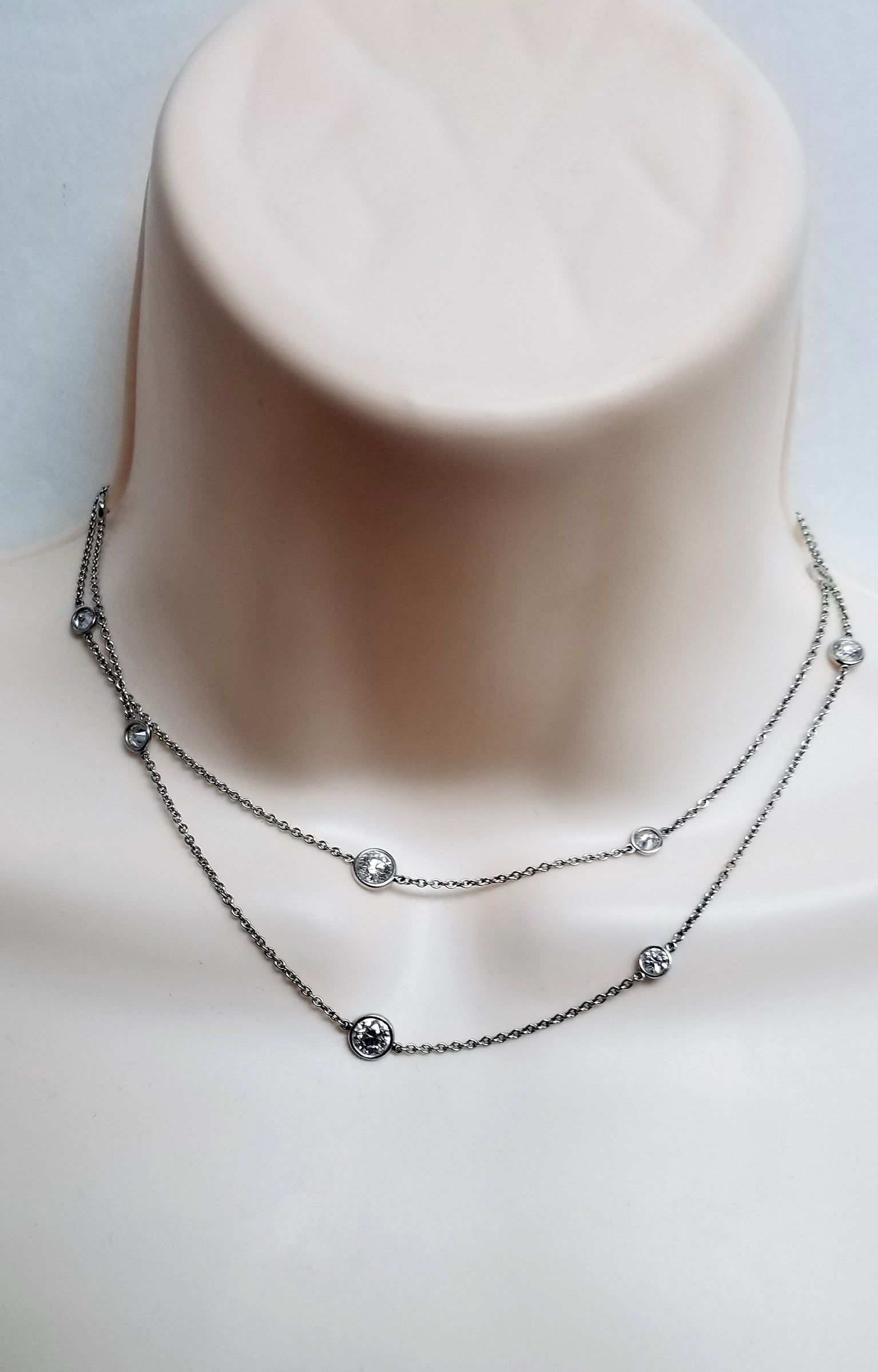 Tiffany Elsa Peretti 3.89 ct VVS-F Diamond by the yard 12 dia necklace platinum