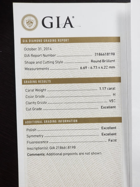 GIA certified 1.17 Carat VS2-H round diamond Triple x