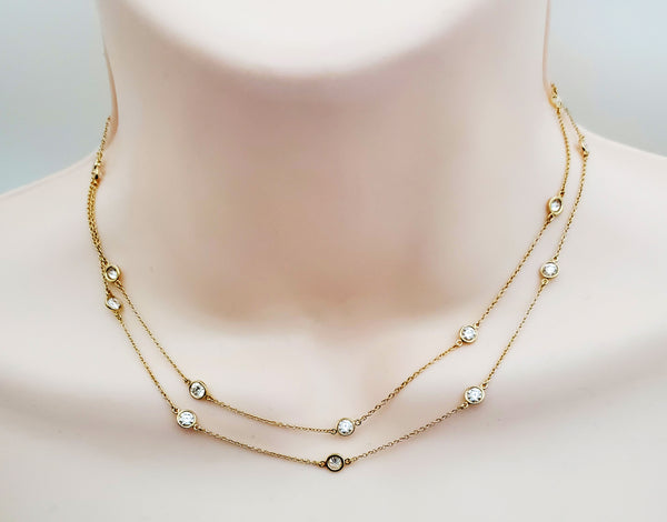 Tiffany & Co 18k Elsa Peretti 2.8 ct Diamond by the yard 20 diaomnd necklace