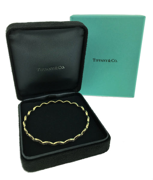 Tiffany & Co Paloma Picasso zig zag diamond bangle in 18k gold size large