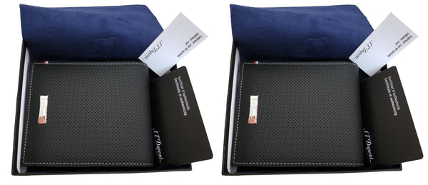 2 x S.T. Dupont 170402  Défi perforated 8 card black leather wallet
