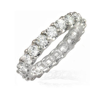 3 carats shared prong / setting Belgium cut diamond eternity band in 18K gold.