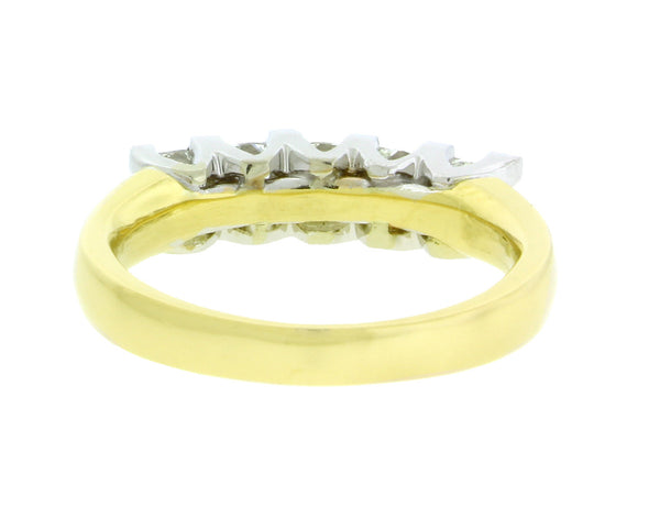 5 Stone princess cut wedding band in 2 tone gold, 1.20 ct size 6.5