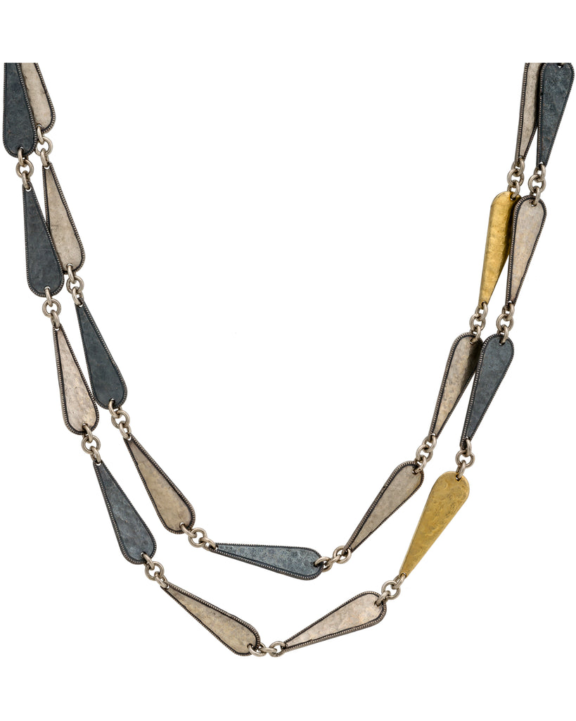 GURHAN YELLOW GOLD & SILVER CONTOUR NECKLACE 39""