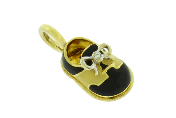 AARON BASHA P150 Classic saddle diamond shoe pendant / charm in 18k gold