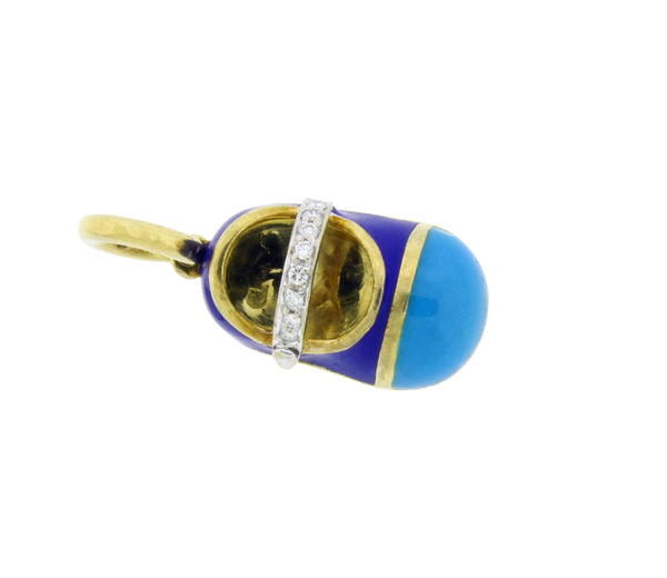 AARON BASHA blue Baby Shoe Charm in 18K Yellow Gold & Diamond Strap