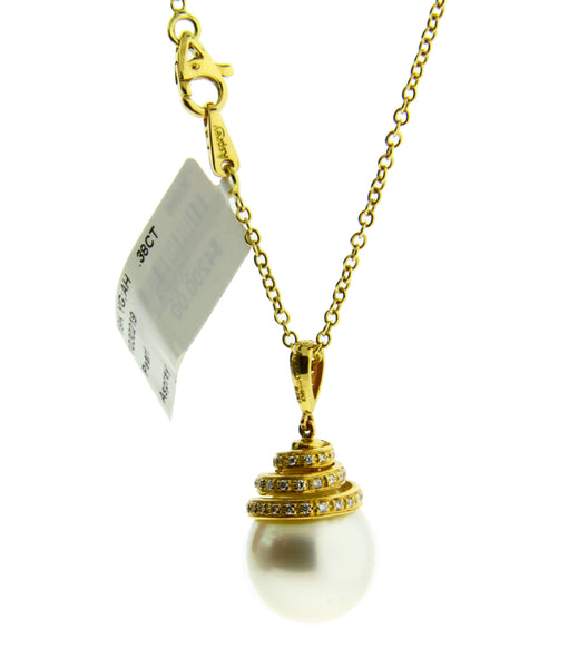 Asprey diamond and large 15.5 mm pearl drop necklace in 18k yellow gold