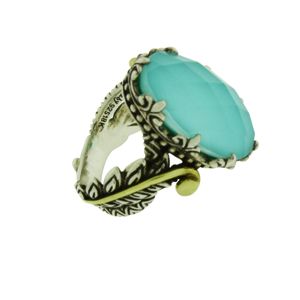 Barbara Bixby Turquoise Doublet ring in 18k gold and silver size 6
