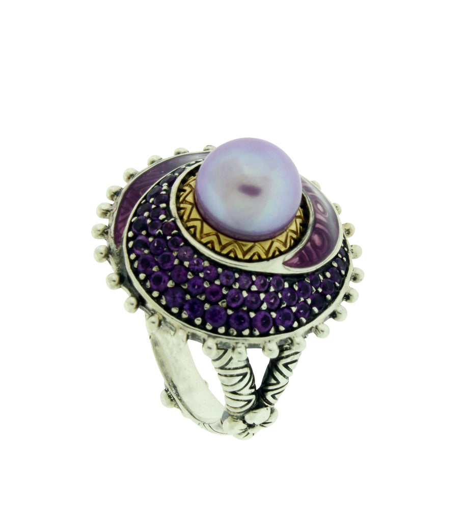 Barbara Bixby pearl ring in 18k gold and silver size 6