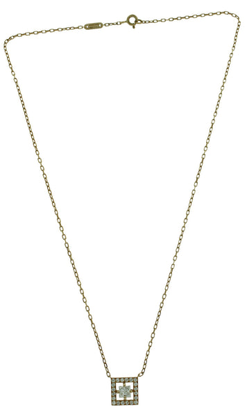 Boucheron 18k gold 1CTW Princess cut diamond necklace, new condition USA seller