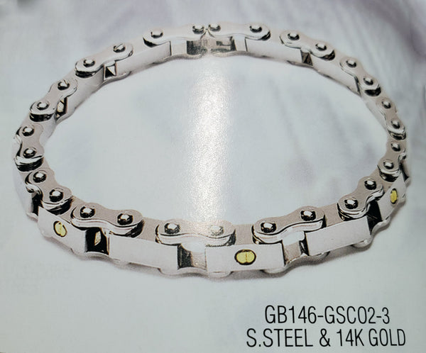 Braccio GB146 bracelet in Stainless steel & 14k 8.5 inches