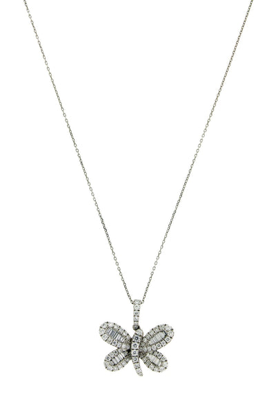 "Butterfly .74 carat diamond necklace 18k white gold 16 inches ""High Quality"""