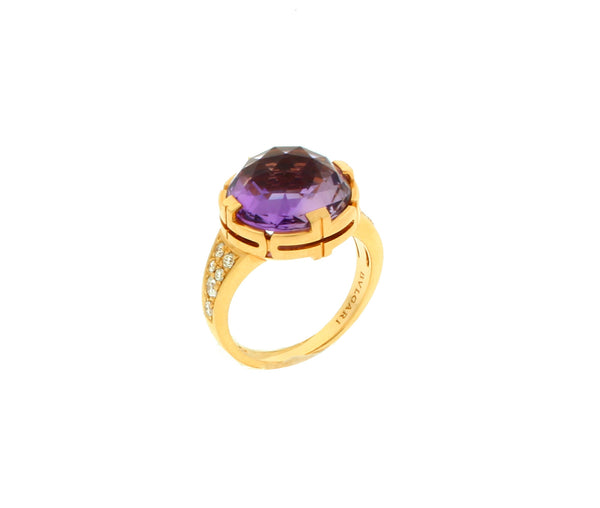 Bvlgari 18 karat yellow gold Diamond & Amethyst ring Ref AN85181 size 6.5