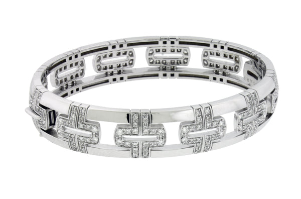 Bvlgari 18k white gold VS1 F diamond Parentesi Women's bracelet size S