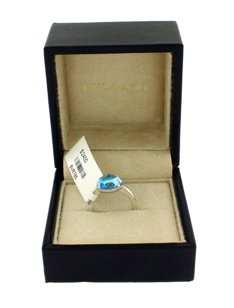 Bvlgari AN856045 Women's blue topaz ring in 18 karat white gold size 6.5