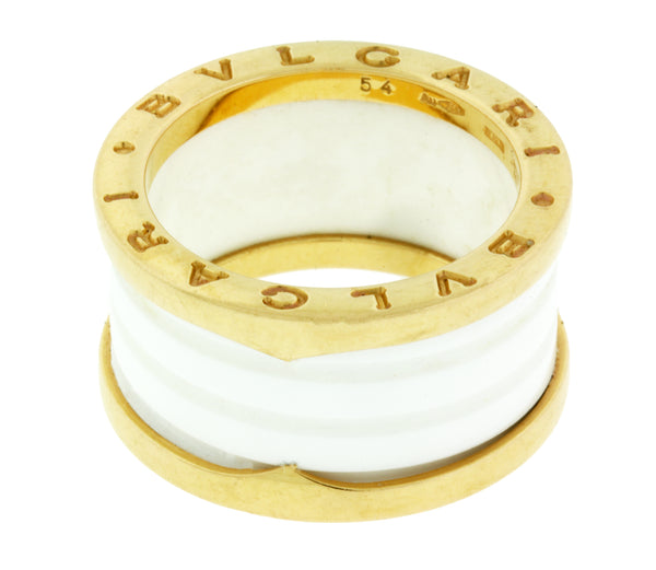 Bvlgari AN855564 B.ZERO1 4 band ring 18k pink gold with white ceramic Size 10.5