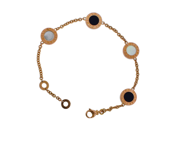 Bvlgari Bvlgari 350641 onyx & mother of pearl element bracelet 18k rose gold