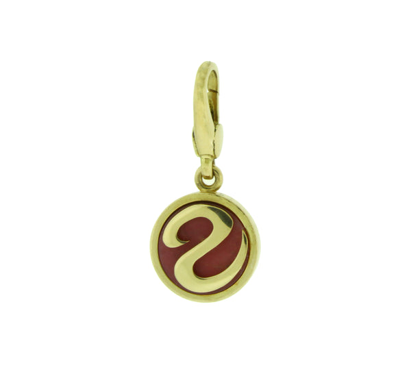 Bvlgari Pink Rhodonite Charm / Pendant in 18 karat yellow gold