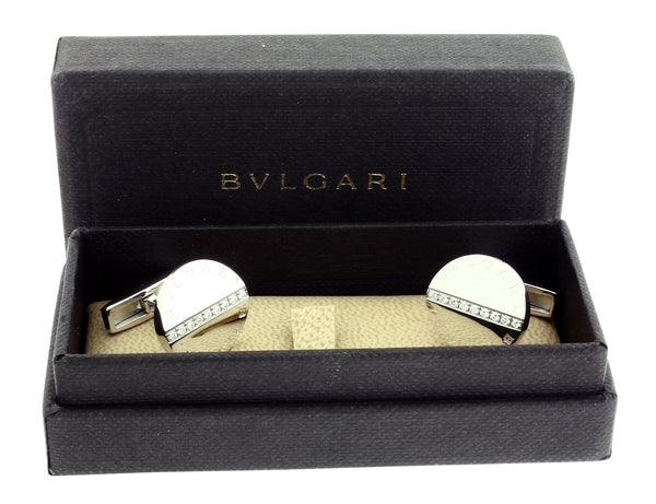 Bvlgari Bvlgari diamond Cufflinks in 18k white Gold Authentic With Certificate