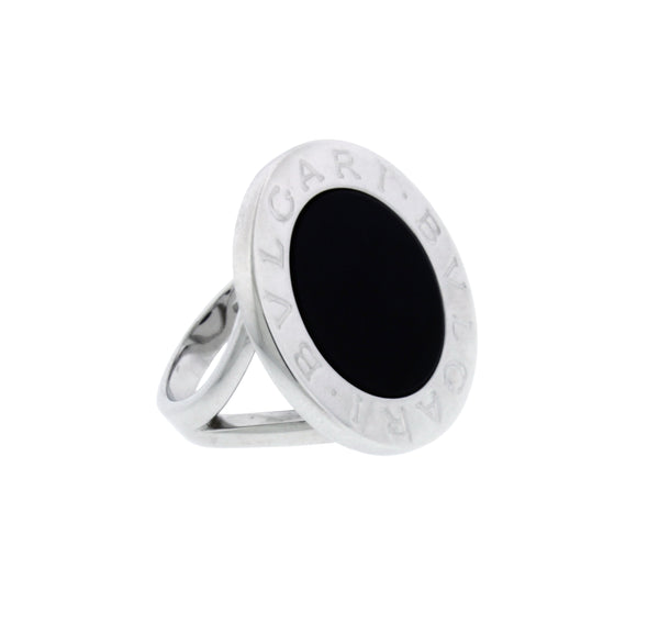 Bvlgari Bvlgari large Black Onyx Ring In 18k white gold Size 6.5