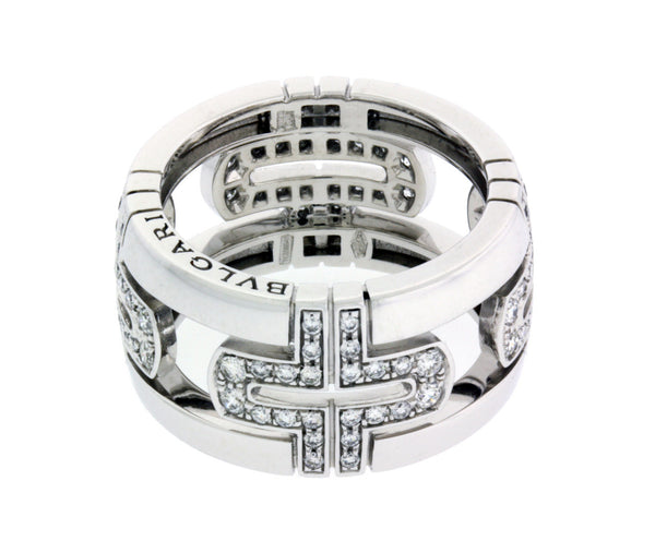Bvlgari AN85396 18k large Parentesi band ring  white gold