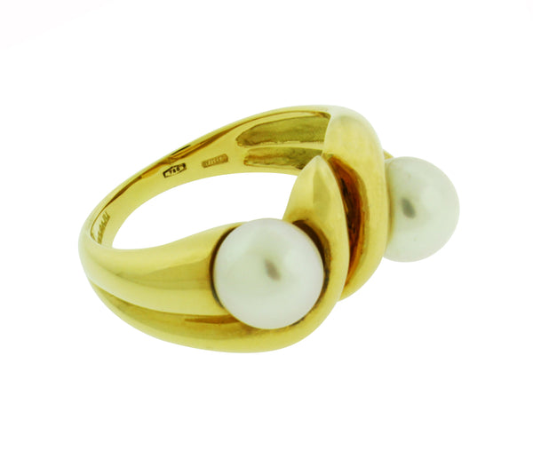 Bvlgari double pearl ring in 18 karat yellow gold size 6.75