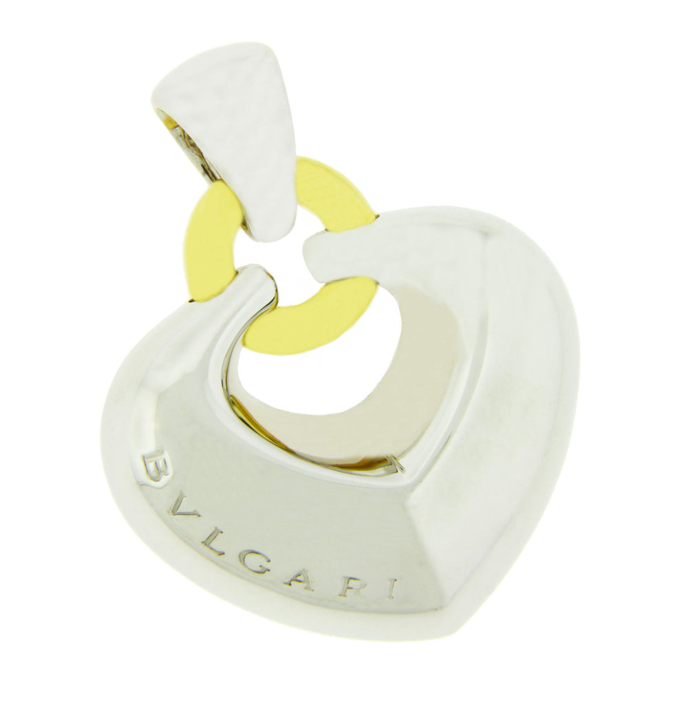 Bvlgari Women's puffed heart pendant Necklace in 18 karat 2 tone gold.