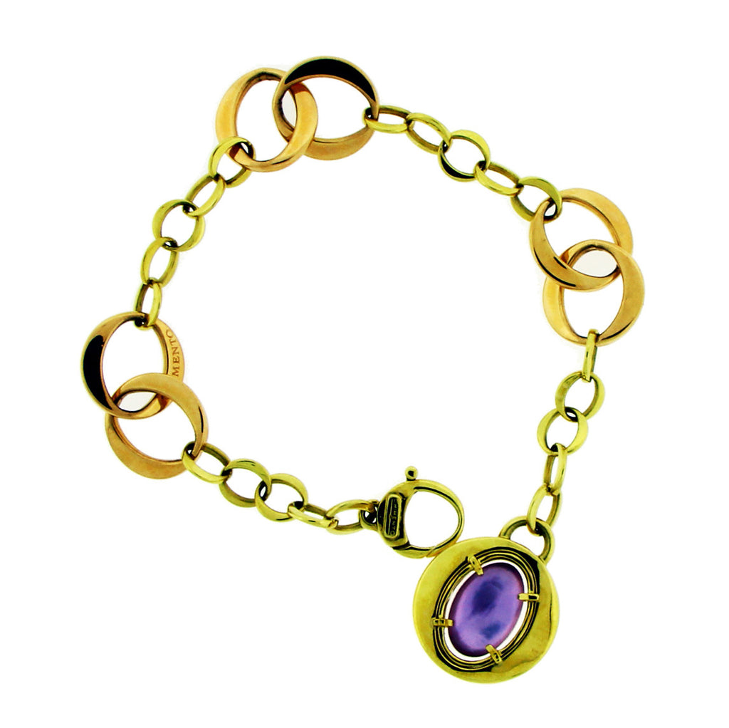 Chimento amethyst & mother of pearl bracelet in 18k rose gold.