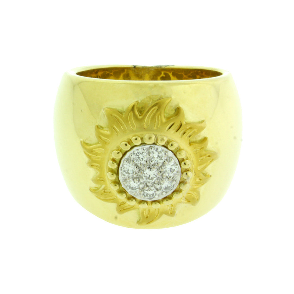 "Carrera y Carrera ""Sol Y Sombra"" diamond sun ring in 18k yellow gold size 5.75"