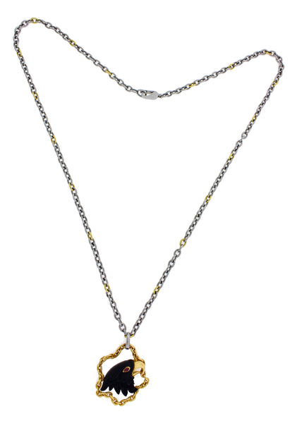 Carrera y Carrera Tourmaline Eagle necklace in 18k and steel 22 inches long