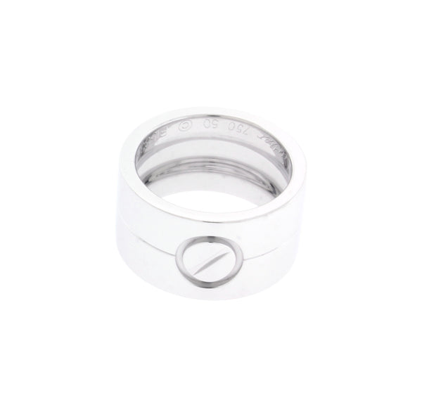 Cartier 11 mm wide Love ring in 18 karat white gold size 50 (USA 5.25)