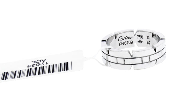 Cartier 18 Karat white gold Tank Francais band ring size 52, US 6.25