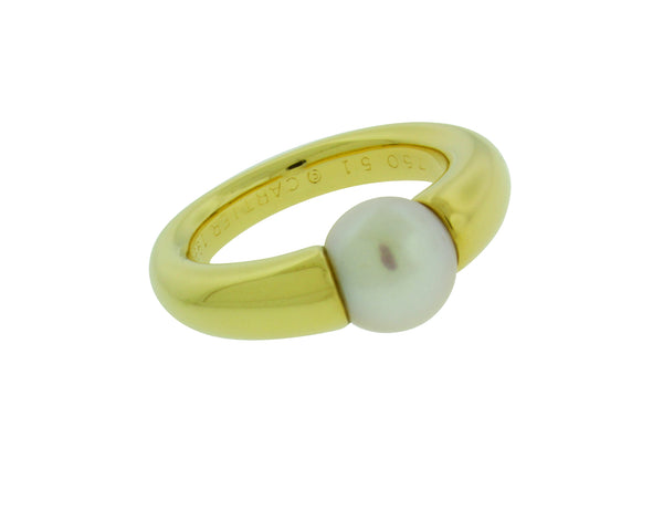 Cartier 8 mm pearl ring in 18k Yellow gold size 51 US 5.75
