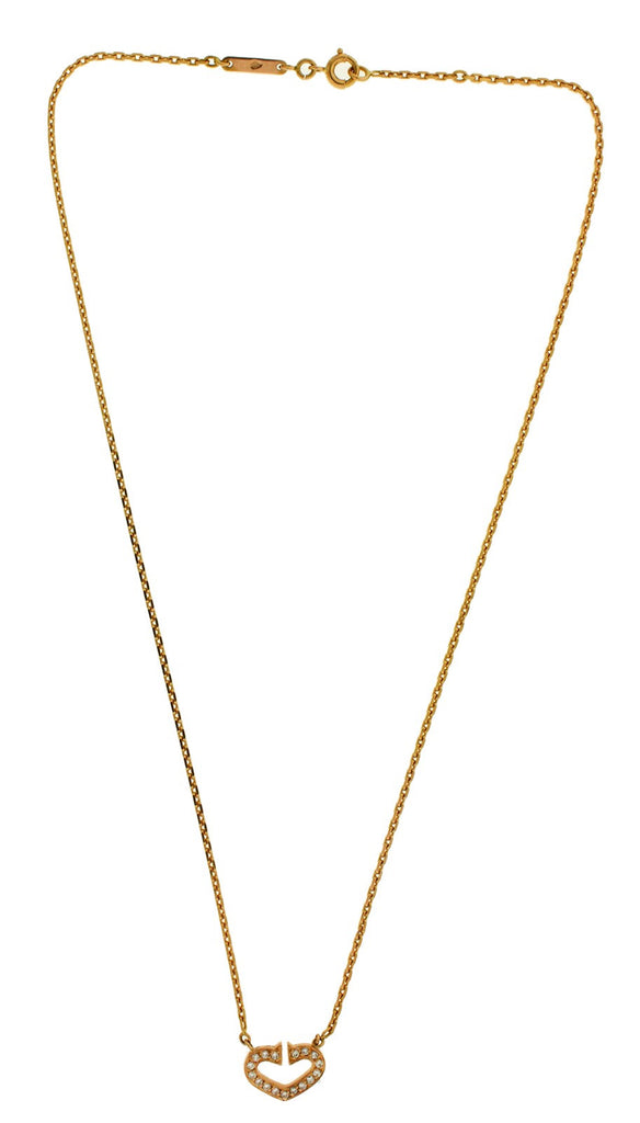 Cartier Hearts And Symbols C Diamond Necklace In 18k Rose Gold 16