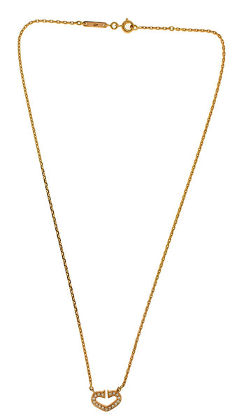 Cartier Hearts and Symbols C Diamond necklace in 18k rose gold 16 inches long