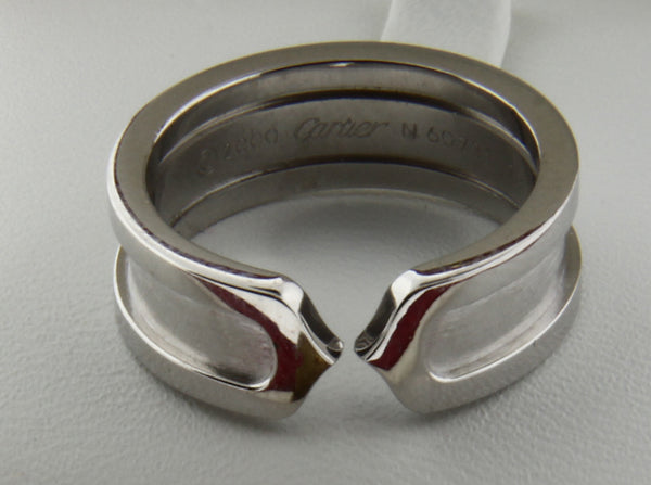 Cartier C2 Logo Double C ring in 18K White gold size 50, US 5.25