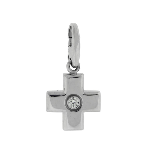 Cartier Diamond cross Pendant necklace in 18k white gold
