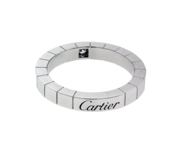 Cartier Lanieres diamond 18k white gold band ring size 50 (US 5.25)