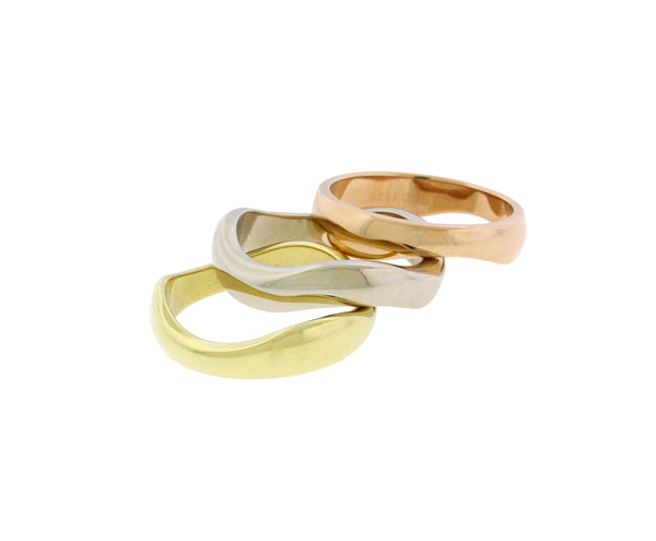 Cartier trinity 18k 3 Tone Rose, White, Yellow Gold stackable band Ring