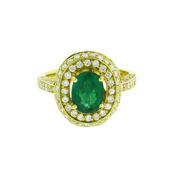 Chantecler Capri Emerald & diamond ring in 18k gold size 7.5