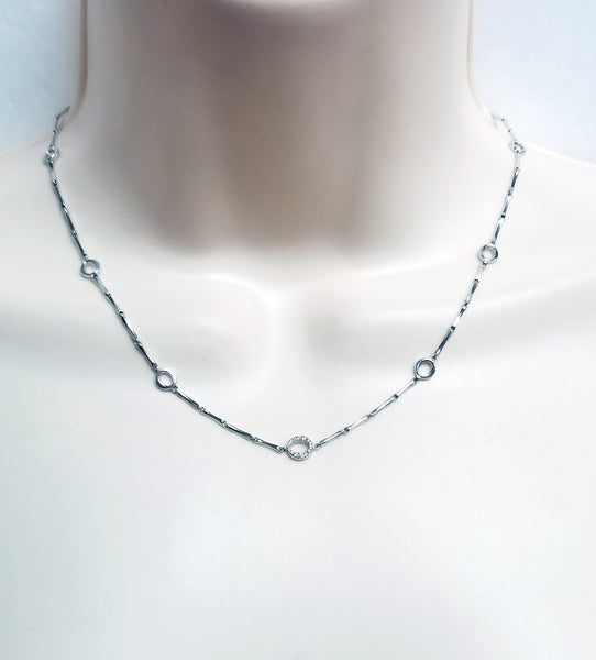 Chimento 18k white gold necklace with diamond 17""
