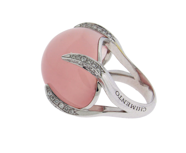 Chimento Elsir pave diamond & rose quartz ring in 18k white gold size 6.5