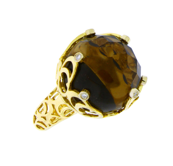 Chimento boule web diamond & smokey quartz ring in 18k yellow gold size 7