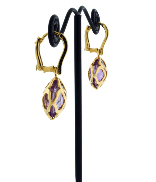 Chopard 839221 18k rose gold Imperiale cutout amethysts earrings